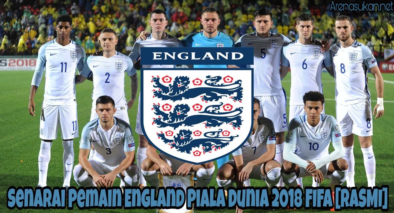 Senarai Pemain England Piala Dunia 2018 FIFA [RASMI]