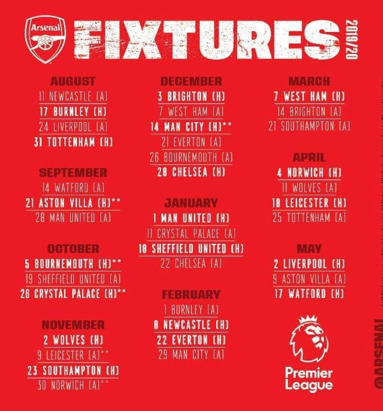 Jadual Perlawanan Arsenal EPL 2019/2020