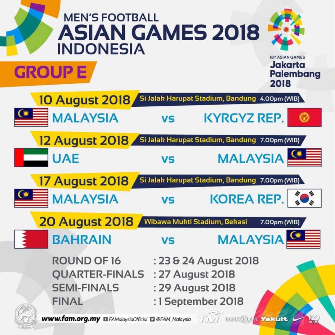 Jadual Bola Sepak Sukan Asia 2018 Arenasukan