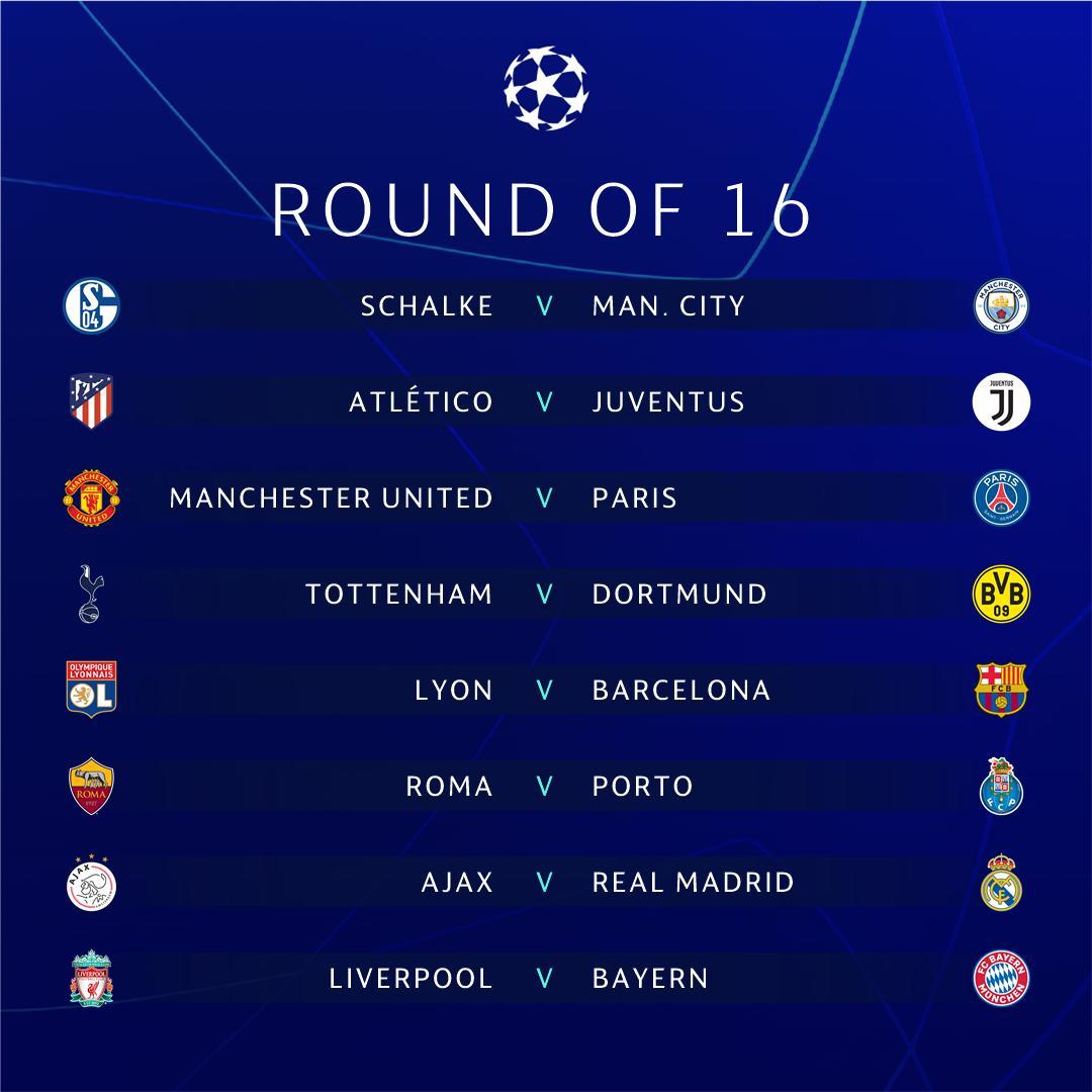 Keputusan Undian Pusingan 16 UEFA Champions League 2018/2019