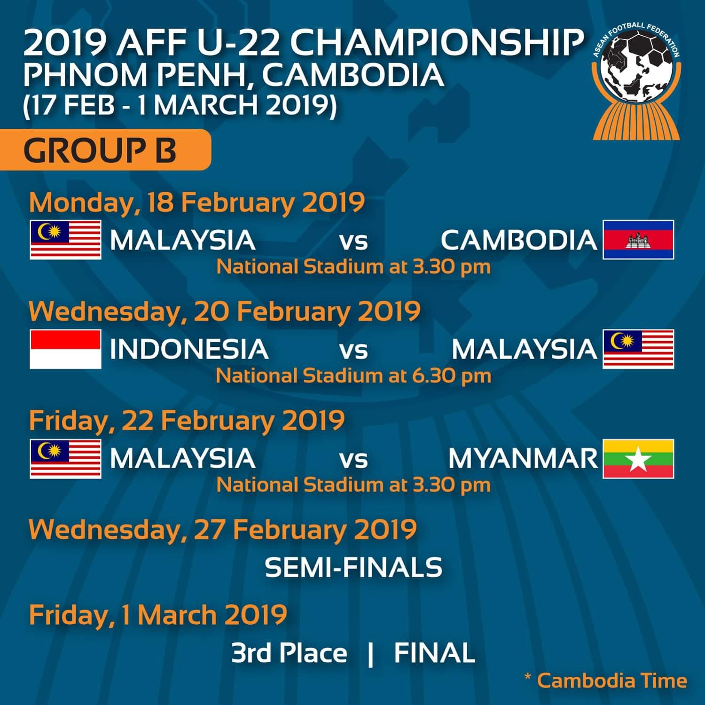 Jadual Perlawanan Kejuaraan B-22 AFF 2019
