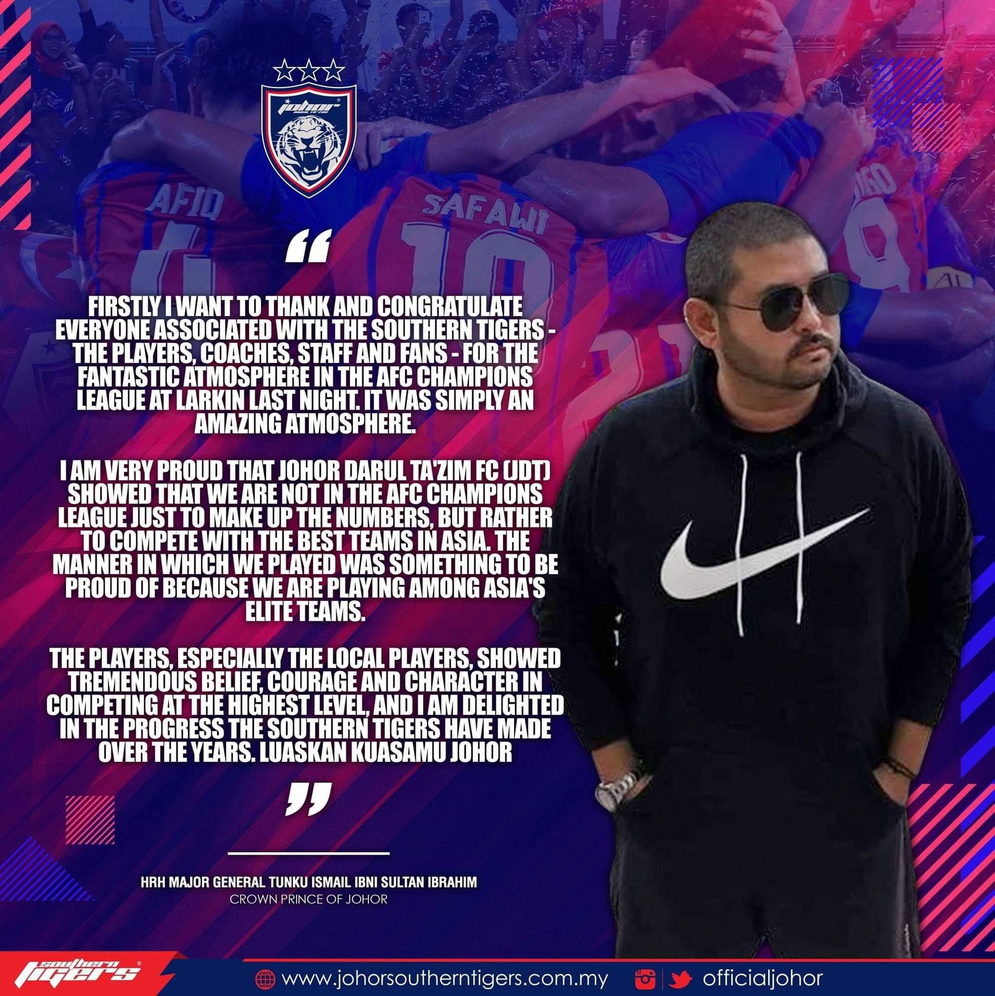 ACL 2019: TMJ Bangga Skuad JDT Pamerkan Aksi Terbaik di Larkin