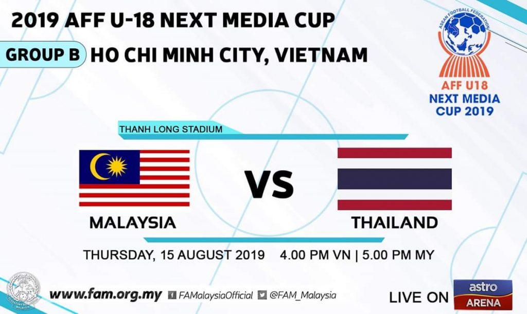 Live Streaming Malaysia vs Thailand 15.8.2019 AFF B-18