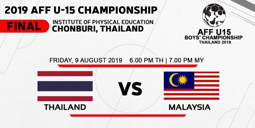 Live Streaming Thailand vs Malaysia 9.8.2019 FINAL Kejuaraan B-15