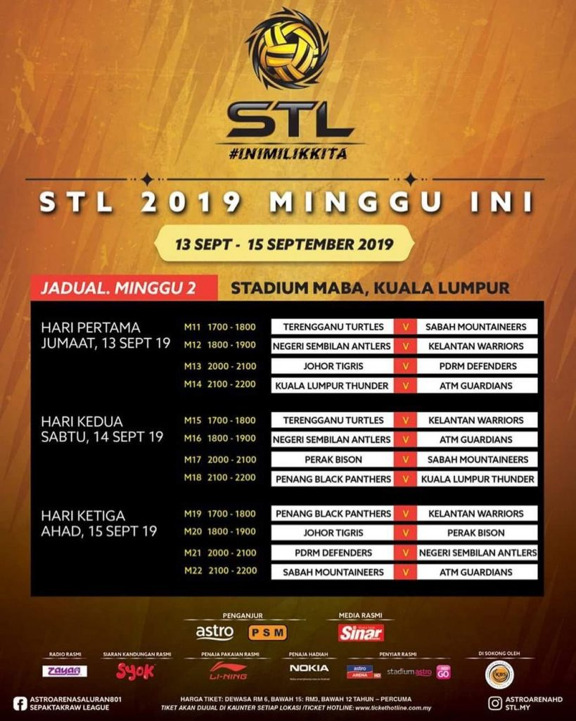 Jadual STL 2019 Sepak Takraw League (Divisyen Premier)