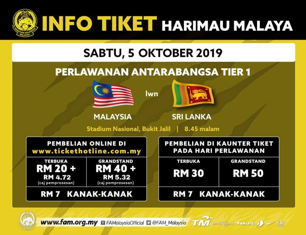 Harga Tiket Malaysia vs Sri Lanka 5.10.2019 Perlawanan Persahabatan